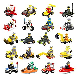 20 Building Vehicles with Minifigures for Kids Party Favors , Birthday Gift for for Children ,100% Compatible
