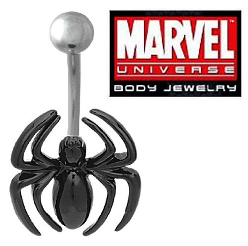 Officially Licensed Marvel Comics Black Widow Spiderman Spider Belly navel Ring piercing bar body jewelry 14g