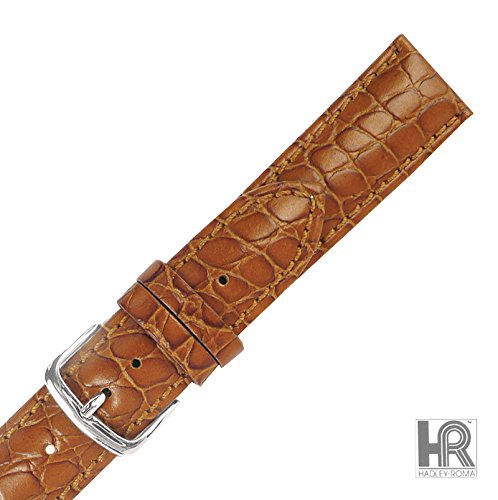 Hadley Roma MS838 22mm Tan Matte Alligator Grain Genuine Leather Men Watch Band