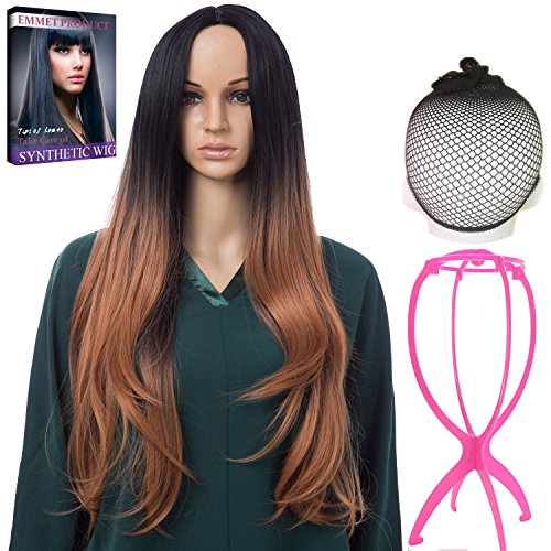 Emmet Long Wavy Synthetic Full Wigs Ombre Color Women's Quality Kanekalon Big Spiral Curly Cosplay Party Costume Wig with Free Wig Cap & Free Wig Stand Holder & Free Ebook (Celebrity Quality Costumes)