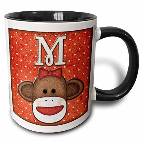 3dRose 102816_4 Cute Sock Monkey Girl Initial Letter M Two Tone Mug, 11 oz, Black/White