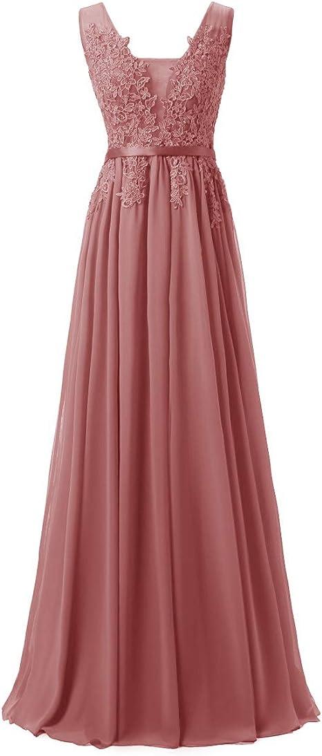 WedTrend Damen Spitzenkleid Brautjungfer Kleid Lang Chiffon Abendkleid Party Cocktailkleid Neckholder Sommerkleid