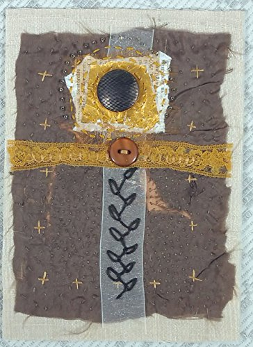 Abstract Cross Handstitched Artsy Gift Mixed Media Textile Collage -Cross by PegasaurusArt