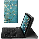 Fintie Slim Keyboard Case for All-New Amazon Fire 7 (7th Generation, 2017 Release), Slim Shell Lightweight Stand Cover with Magnetically Detachable Wireless Bluetooth Keyboard, Blossom
