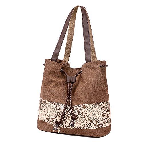 M-Queen Donna tela di canapa Borsa Borsa a spalla Tote bag con Print Stile etnico fiore marrone moda progettazione bag