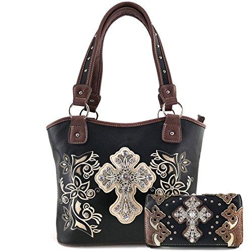 - Justin West Embroidery Floral Rhinestone Silver Cross Laser Cut Tooled Leather Western Shoulder Concealed Carry Handbag Purse Messenger Bag Tote Wallet (Black tote and wallet)