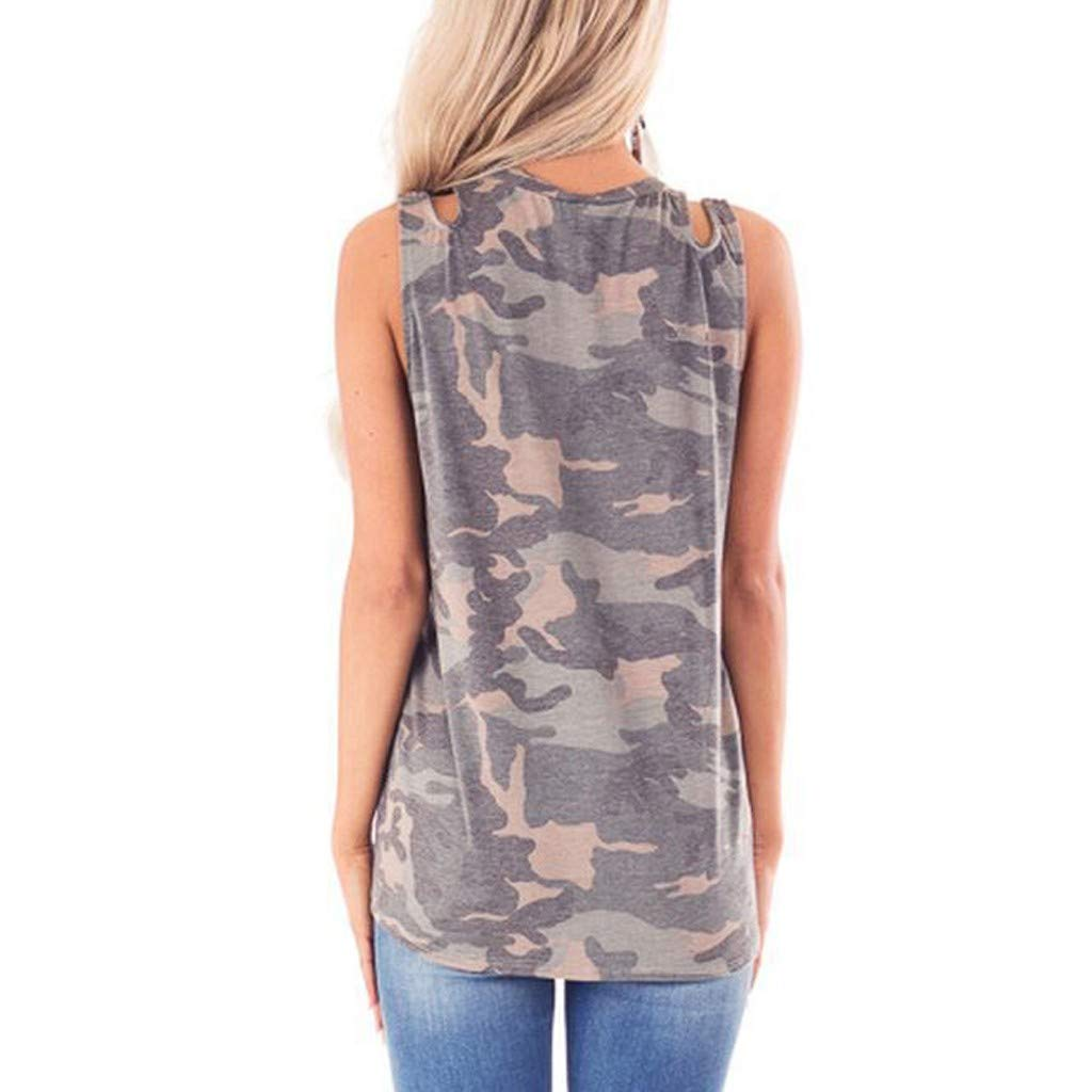 Jesaisque Womens Fashion Sleeveless Sequin Pocket Front Knot Camouflage Print Tank Top Boho Blouse Tunic Cami Vest Tee