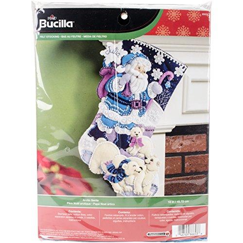 Felt Stocking Kit Santa - Bucilla 18-Inch Christmas Stocking Felt Applique Kit, 86653 Arctic Santa