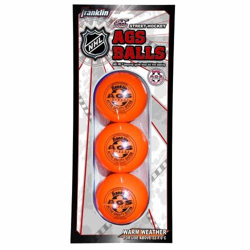 Franklin Sports NHL AGS Pro High Density Street Hockey Ball, Orange, 3-Pack