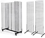 2' x 6' Grid Wall Panel 4-Sided Floorstanding Display Fixture with Gondola Base Plus 2x) 24'' x 72'' Floor Standing Grid Displays, Black
