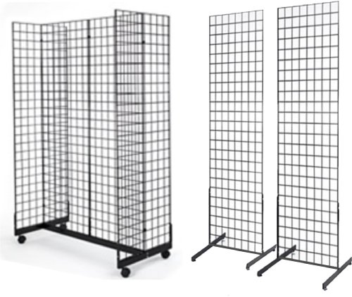 2' x 6' Grid Wall Panel 4-Sided Floorstanding Display Fixture with Gondola Base Plus 2x) 24'' x 72'' Floor Standing Grid Displays, Black by Only Garment Racks