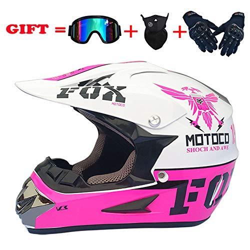 WWtoukui Cool Eagle Motocross Helmet, Adult Motocross Locomotive ATV Mountain Bike Rider Full Face Helmet, DOT Certified Helmet (Set of 4) Pink Plus White,XL:60~61cm