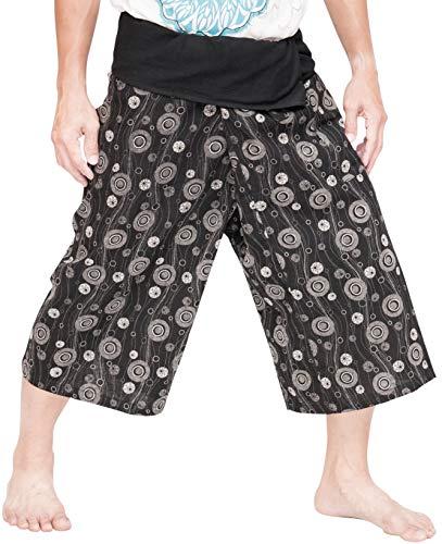 BohoHill Capri Fisherman Pants Cropped Meditation Yoga Trousers (Black Rising Bubble)