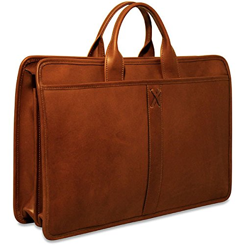 (Jack Georges [Personalized Initials Embossing] Belmont Collection Double Gusset Top Zip Briefcase in Cognac)