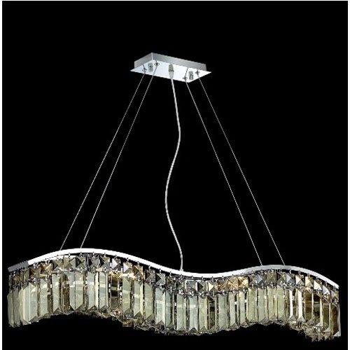 Elegant Lighting 2040D30C-GT/RC Contour Collection 6-Light Hanging Fixture Royal Cut Golden Teak Crystals with Chrome Finish