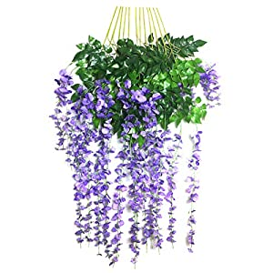 Passion Store 12pcs 3.6 Feet Wisteria Artificial Flowers Rattan Hanging Flowers Vine Garland for Garden Wedding Decorations 37