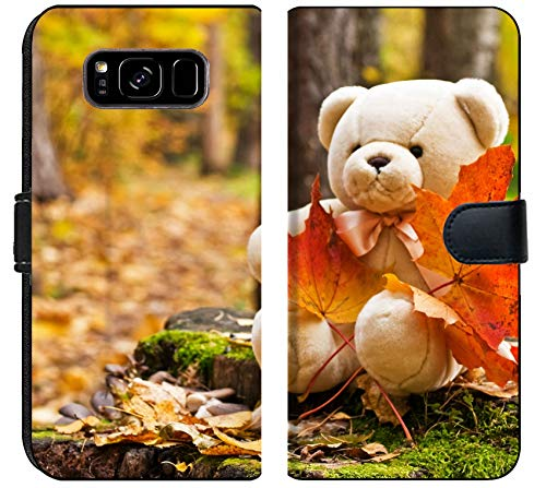 Luxlady Samsung Galaxy S8 Plus Flip Fabric Wallet Case Teddy Bear with red Maple Leaves in Autumn Park Image ID 5723362 ()
