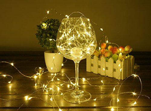 BHCLIGHT LED String Lights Battery Operated Starry Copper Wire Waterproof Décor Rope Lights For Seasonal Decorative Christmas Holiday - Parties - Wedding(50 Leds - 16.5 ft - Warm White)