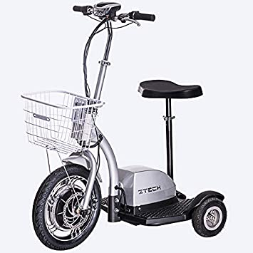 Lunex Scooter eléctrico Scooter Scooter 3 Wheeler Trike Cesto Adulto Asiento 35 km/h (Plateado)