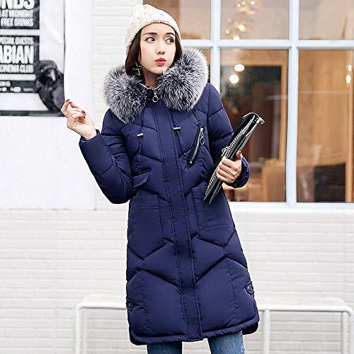 Donna Addensare Homebaby Imbottito Cappotto Blu Cappuccio Giubbotto Giacca Invernali Leggero Caldo Elegante Piumino Lungo Basamento Piuma Cotone Trincea Impermeabile OIOqYr