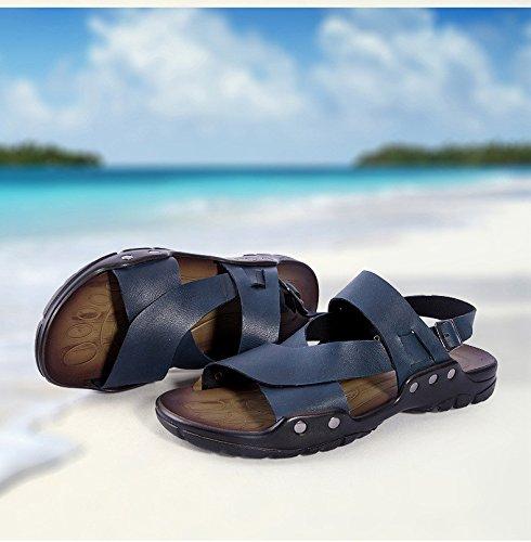Sommer neue Männer Qualität Rindsleder Sandalen bequeme weiche Unterseite Freizeit Strand Schuhe, blau, UK = 9, EU = 43