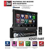 """Dual Electronics XDVD156BT Multimedia Retractable & Detachable 7"""" LED Backlit LCD Touchscreen Single DIN Car Stereo Receiver with Built-in Bluetooth, CD/DVD, USB, MicroSD Card & MP3 Player"""