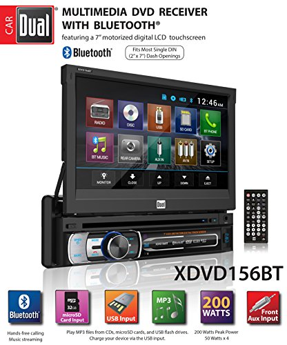 (Dual Electronics XDVD156BT Multimedia Retractable & Detachable 7-inch LED Backlit LCD Touchscreen Single DIN Car Stereo Receiver with Built-in Bluetooth, CD/DVD, USB, microSD Card & MP3 Player)