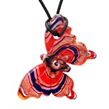 Designer Murano Inspired Glass - Red, Blue, Silver and Gold Foil - Butterfly Pendant Necklace Set - Fashion Interchangeable Jewelry - Hypoallergenic - The perfect gift