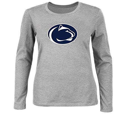 NCAA Women's Plus Size Scoop-Neck Long Sleeve Cotton Tee Shirt Penn State Nittany Lions, HEATHER GREY, 2X