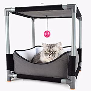 Cat House Bed,Bloomma DIY Pet Sofa Cat Sleeping Bag,Removable Jumping Board Cat Bed Toy Steel Claw Sleeper with Hanging Ball Pet Supplies