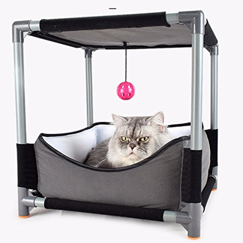 Yunt Cat Bed Nest Sofa Removable Jumping Board Cat Bed Toy Steel Claw Sleeper DIY Cat Sleeping Bag with Hanging Ball Pet Supplies