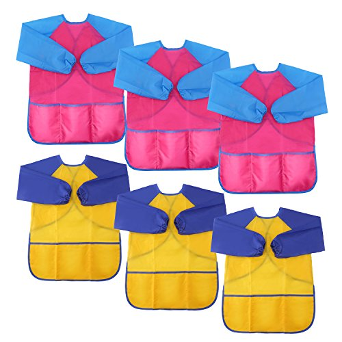 - LOKIPA Waterproof Paint Apron for Kids , Children's Art Smock Long Sleeve with 3 Roomy Pockets,Pack of 6 Suitable for 4-8 Years