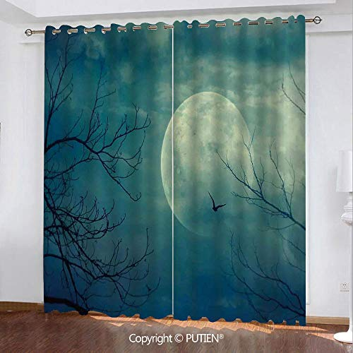 Satin Grommet Window Curtains Drapes [ Horror House Decor,Halloween with Full Moon in Sky and Dead Tree Branches Evil Haunted Forest,Blue ] Window Curtain for Living Room Bedroom Dorm Room -