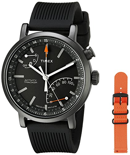 Timex Unisex TWG012600 Metropolitan + Activity Tracker Smart Watch Gift Set with Black Silicone and Orange Nylon Straps