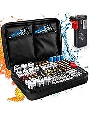 Keenstone Organizador de Batería, Caja Organizadora de Pilas Dura Con Capacidad Para 139 Pilas AA AAA C D 9V - Caja de Pilas Con Comprobador Digital de Batería BT-168 (Batería No Incluida)