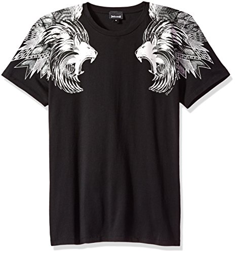 Just Cavalli Men's Lion Shoulder Tee, Black, - Cavalli Men Just