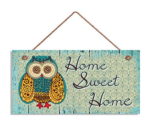 Home Sweet Home Sign - Placa Decorativa de Madera con diseño de búho rústico Verde, 12,7 x 25,4 cm, Regalo para casa