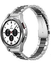 Diruite för Samsung Galaxy Watch 4 40 (44 mm)/Classic 42 (46 mm) armband, galvaniserat rostfritt stål metall ersättning klockarmband med dubbelt vikningslås för Samsung Galaxy Watch 4