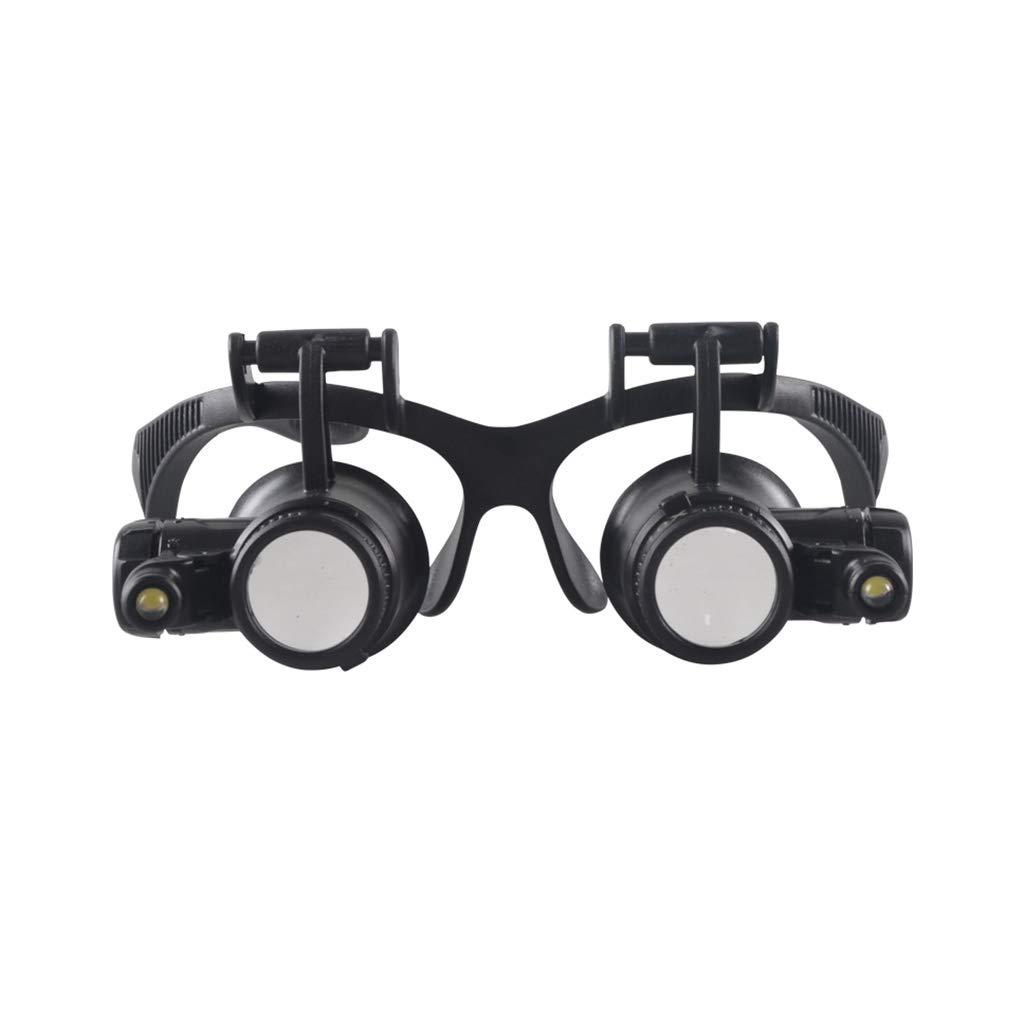ZHHL Lupa, 10X 15X 20X 25X Gafas con Doble Ojo y y Ojo Lupa con luz LED para relojero Joyero (montado en la Cabeza) 9f43d1