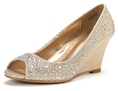 DREAM PAIRS CELESTE-S Women's Elegant Classic Open Toe Mid Heel Wedge Heel Rhinestones Pumps Shoes New GOLD SIZE 8.5 - Gold Shoes Wide