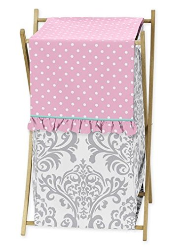 Baby/Kids Clothes Laundry Hamper for Skylar Gray Damask and Pink Polka Dot Girls (Damask Clothes)