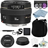 Canon EF 50mm F1.4 USM Lens + Advanced Accessory Kit - Canon Lens Bundle Includes EVERYTHING You Need to Get Started