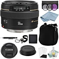 Canon EF 50mm F1.4 USM Lens + Canon EF 50mm Lens Advanced Accessory Kit - Canon Lens Bundle Includes EVERYTHING You Need to Get Started
