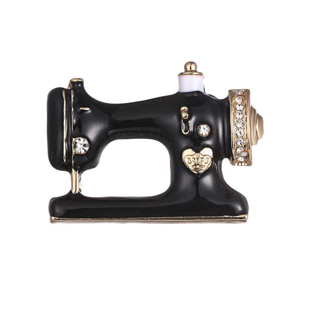 Charmart Sewing Machine Lapel Pin 2 Piece Set Black Enamel Brooch Pins Denim Jacket Sweater Collar Bags Backpacks Accessories Gifts