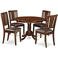 East West Furniture HLDU5-MAH-LC 5 PC Hartland Set with One Round 42in Dinette Table & 4 Kitchen Chairs with Faux Leather Seat in a Attractive Mahogany Finish