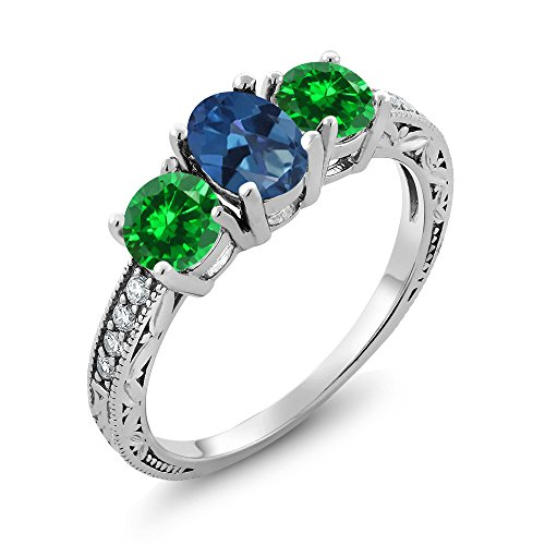 Gem Stone King 2.60 Ct Royal Blue Mystic Topaz Green Simulated Emerald 925 Sterling Silver Ring (Size 9) ()