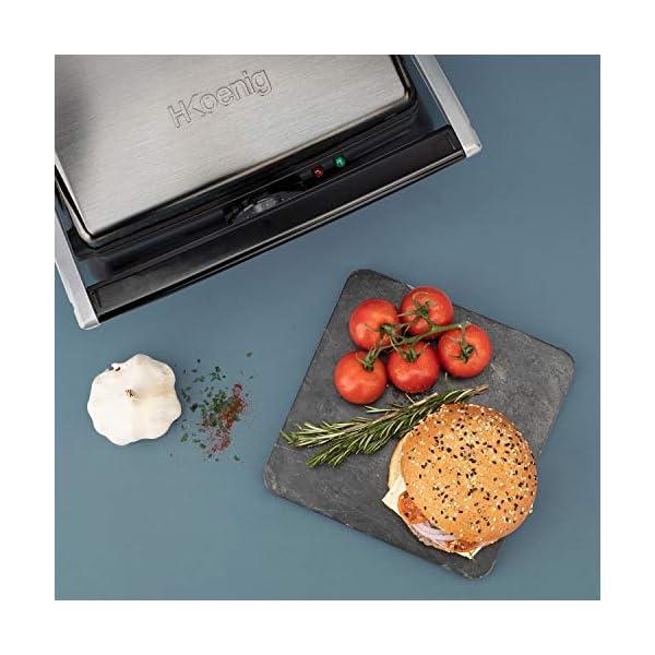 H.Koenig GR20 Bistecchiera/Panini Maker/Grill, Superficie di cottura 29,7x23cm, Acciaio Inox, 2000W 6
