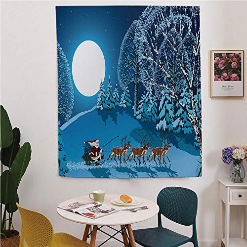 (Christmas Decorations Blackout Window curtain,Free Punching Magic Stickers Curtain,Santa in Sleigh a Holy Night with Full Moon Snowy Winter Xmas Theme,for Living Room,study, kitchen, dormitory,)