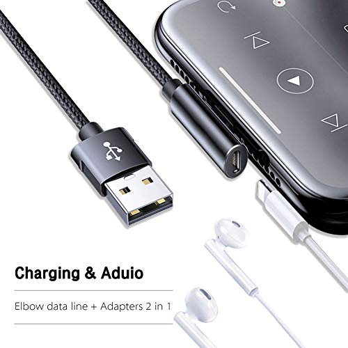 Twinkk 2 in 1 Audio&Charge Headphone Jack Adapter Charging Cable Cord Dongle Compatible with iPhone Xs Max/XS/XR/X/8/7 and More Compatible with iOS 10.3/12 or Later(Black)