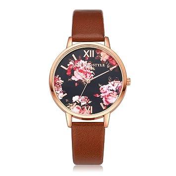 LMSHM Reloj De Dama Reloj De Pulsera De Mujer Flores De Oro Rosa ...